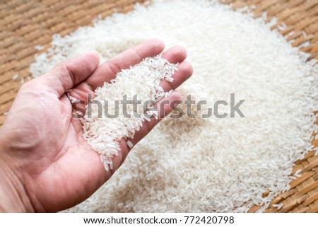 rice in the hand and a pile of rice in threshing basket.