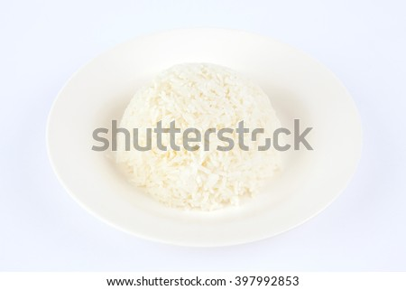 Rice in white dish.White background