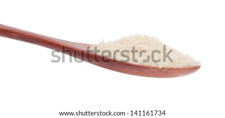 Rice in wooden spoon isolated on white background - stock photo