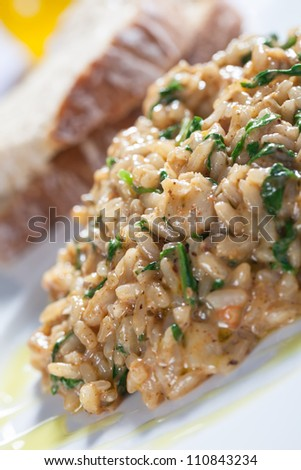 Rice is being served with vegetables. - stock photo