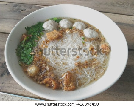 Rice noodle water Meatballs - stock photo