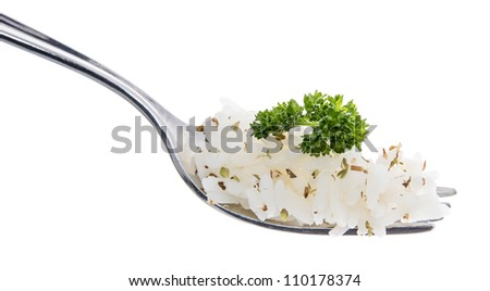 Rice on a Fork isolated on white - stock photo