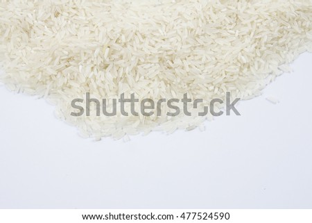rice on a pile isolated on white background