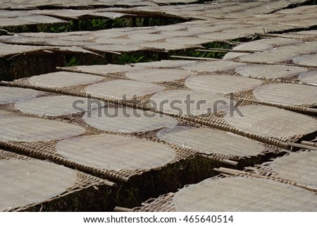 Rice pancakes drying on the sun in the rice noodles factory, Can Tho (Mekong Delta), South Vietnam.