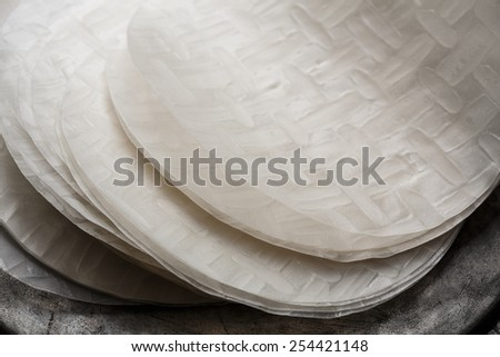 Rice paper for spring rolls - stock photo