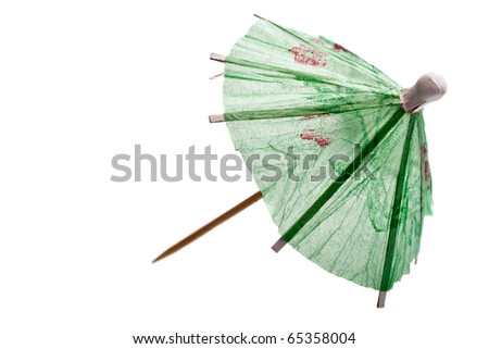 Rice paper umbrella decoration for cocktail glass, isolated - stock photo