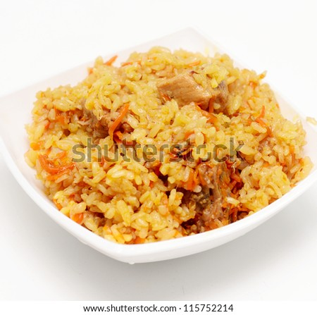 rice pilau on a plate - stock photo