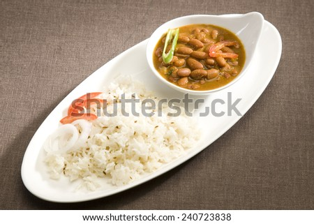 Rice & Rajma or Red kidney Beans - stock photo