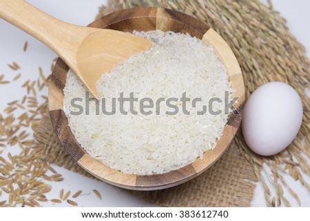 Rice / Rice on the wooden plate
