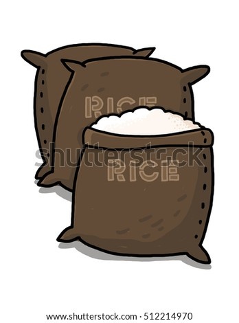 Rice sacks illustration; open sack containing rice