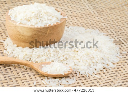 Rice seeds with bowl and spoon for food.