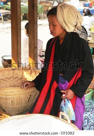Rice Shopping   Myanmar (Burma) - stock photo