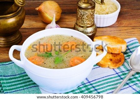 Rice Soup with Chicken Studio Photo - stock photo