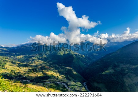 Rice terraced fields on a nice day  Location: Y Ty, Lao Cai province, Vietnam. - stock photo