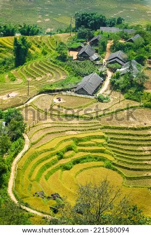 Rice terraces and old village on the mountain.