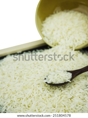 rice , uncooked raw cereals, macro closeup - stock photo