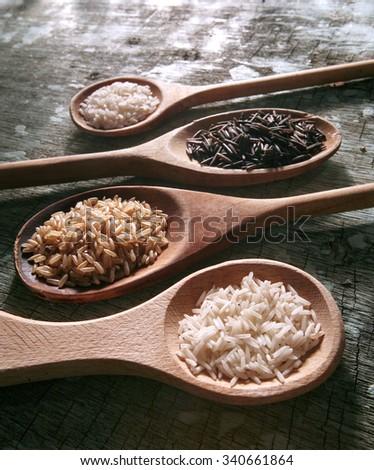 Rice Varieties : brown , basmati , carolina , wild  - stock photo