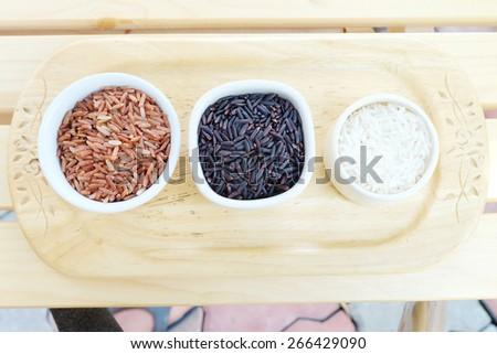 Rice Varieties in bowl  - stock photo