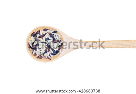 Rice variety,wild rice, rice mixture. brown rice, black rice, white rice in wooden spoon on white background, Selective focus - stock photo