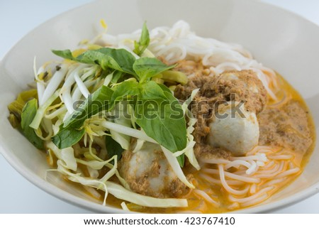 Rice vermicelli with curry and vegetable. - stock photo
