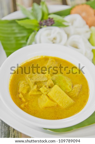 Rice vermicelli with curry thai food style - stock photo