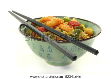 Rice with asian shrimp in asian dishes
