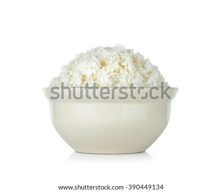 Rice with bowl isolated on the white background.