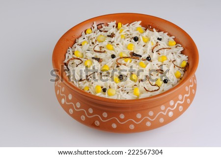 Rice  with corn and vegetables,Rice with corn  - stock photo