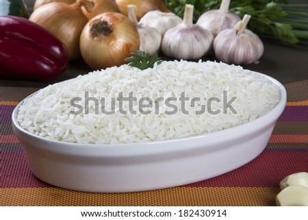 Rice with ingredients - stock photo