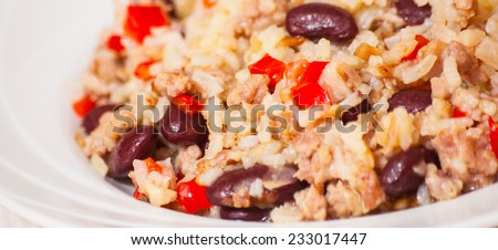 rice with minced meat and beans