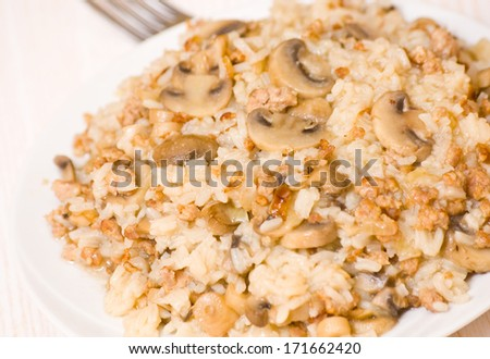 rice with minced meat and mushrooms