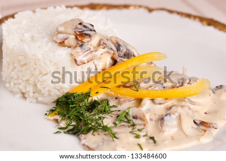 Rice with mushroom - stock photo