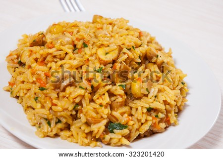 rice with mushrooms on plate - stock photo