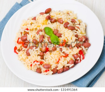 rice with red beans - stock photo