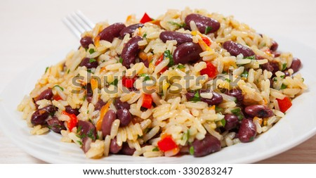 rice with red beans and vegetables