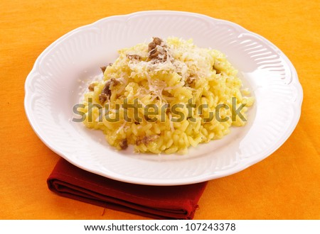 Rice with saffron and sausage in the white dish - stock photo