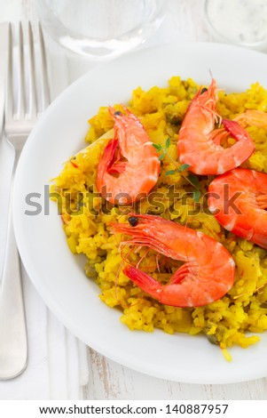 rice with seafood in white plate