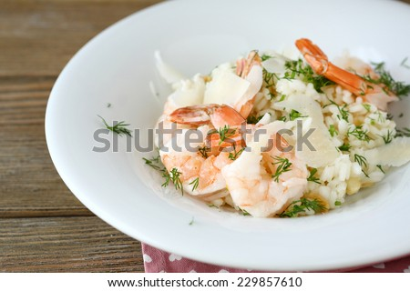 Rice with shrimp and dill, food close-up - stock photo