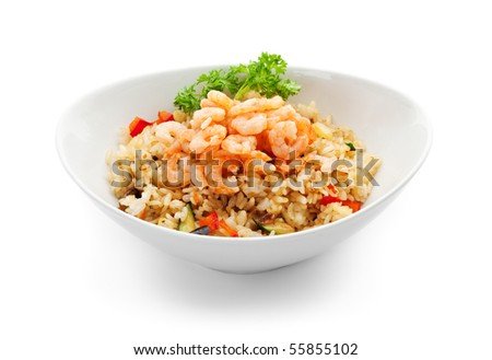 Rice with Shrimp, Cabbage, Mushrooms and Paprika - stock photo