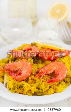 rice with shrimps in plate