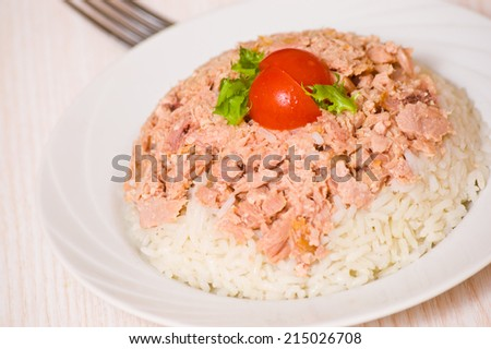 rice with tuna - stock photo