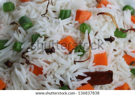 rice with vegetables - stock photo