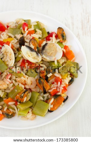 rice with vegetables and seafood
