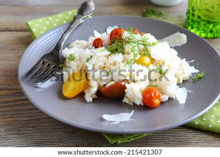 Rice with vegetables, food closeup