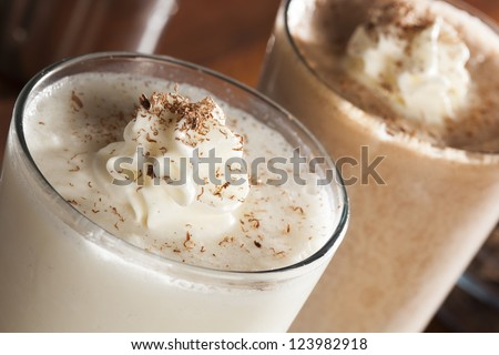 Rich and Creamy Milkshake with whipped cream - stock photo