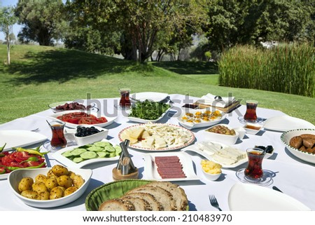 Rich and delicious Turkish breakfast on rounded table - stock photo