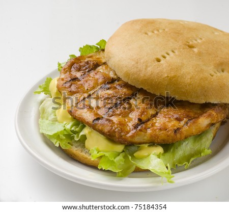 rich and fresh chicken burger with lettuce and mayonnaise