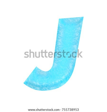 Rich blue water themed uppercase or capital letter J in a 3D illustration with a wavy rippled liquid crisp clear water texture and basic bold font isolated on a white background with clipping path.
