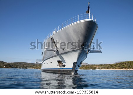 Rich - front view of luxury yacht on the Mediterranean Sea   - stock photo