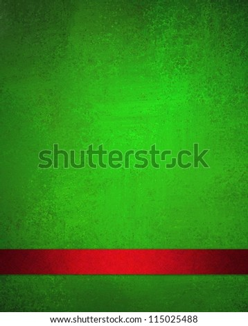rich green background with red ribbon for Christmas holiday background brochure layout for web template or ad design for graphic art, has light vintage grunge background texture and bright color paper - stock photo